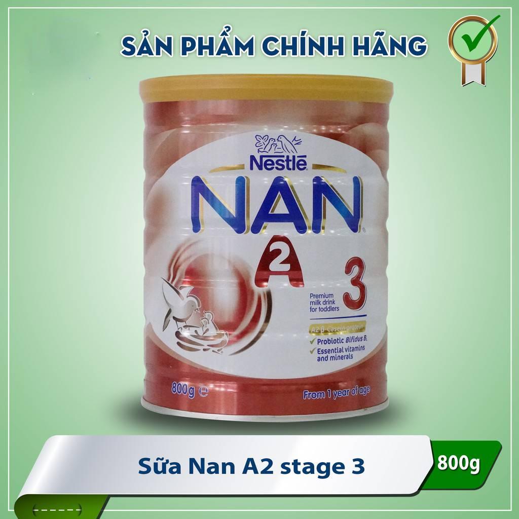 Hộp Sữa Bột Nestle Nan A2 Số 3 800g Úc